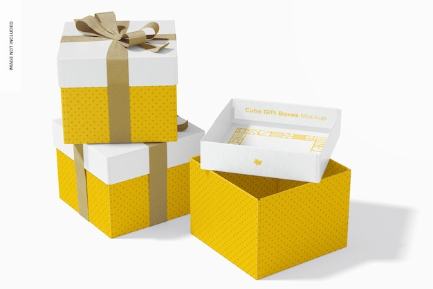 Scatole regalo cubo con nastro set mockup