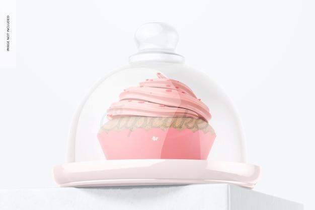 Alzata per cupcake con coperchio a cupola mockup, vista ad angolo basso