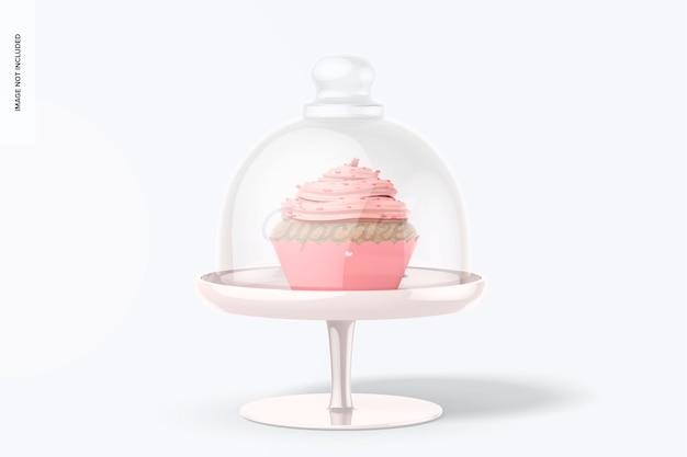 Alzata per cupcake con coperchio a cupola mockup