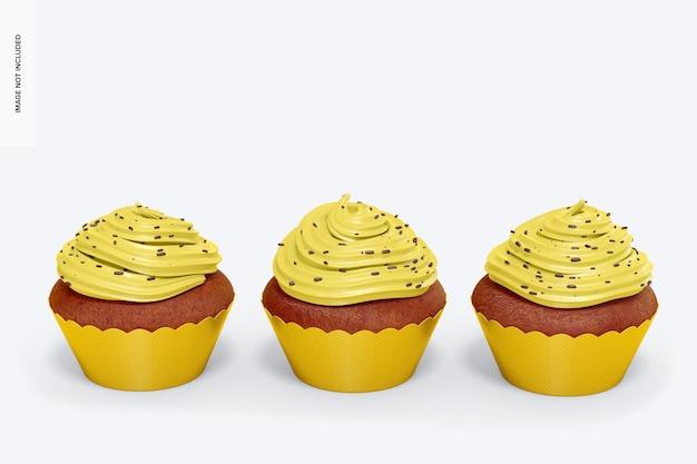 Cupcakes con wrapper set mockup