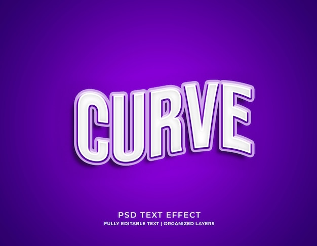 Modello di modello di effetto di testo modificabile stile curva 3d