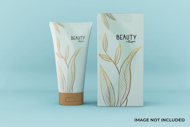 Tubo cosmetico minimalista personalizzabile e design mockup della scatola nella vista frontale Psd Premium
