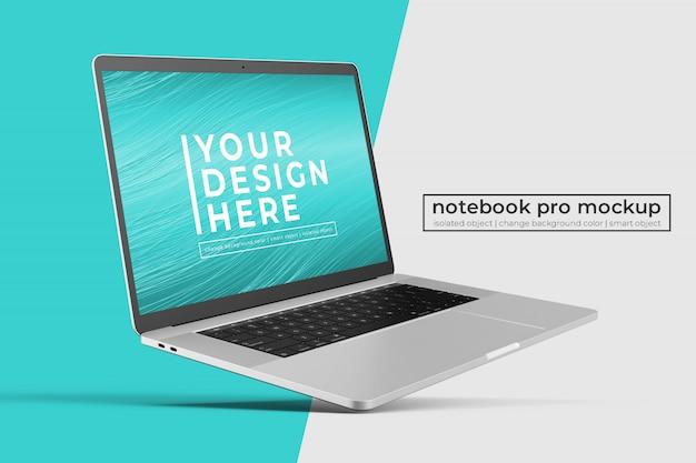 Notebook portatile premium realistico personalizzabile manichino in posizione inclinata a sinistra