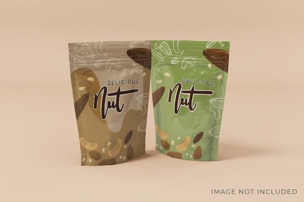 Design personalizzabile per la vista frontale del mockup di packaging a due prodotti