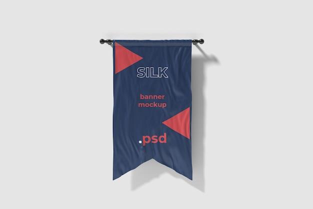 Tagliato in mockup di bandiera di seta