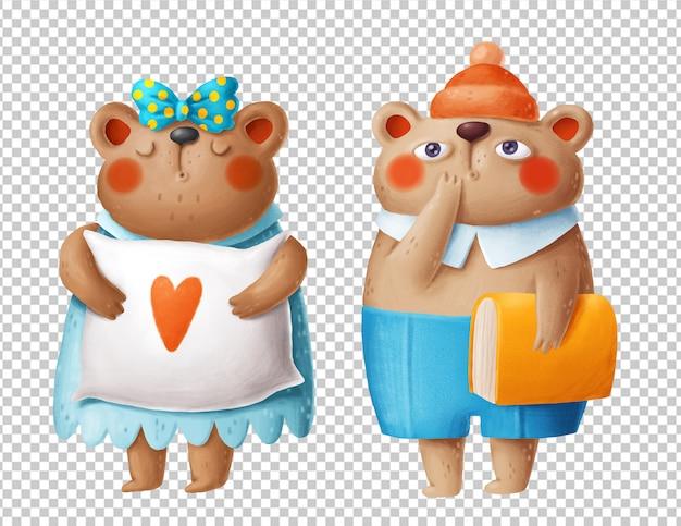 Illustrazioni disegnate a mano di simpatici orsi