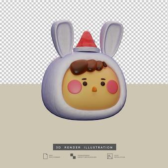 Ragazzo carino con costume da coniglio di neve e cappello da babbo natale vista laterale illustrazione 3d isolata