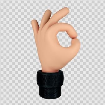 Simpatico personaggio dei cartoni animati a mano con gesto ok 3d render isolato