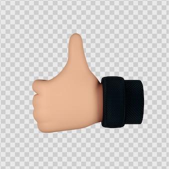 Carino personaggio dei cartoni animati mani gesto 3d render isolato