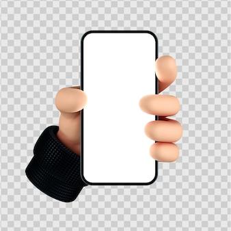 Il personaggio dei cartoni animati carino passa il gesto dello smartphone 3d render isolato