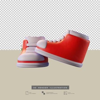 Simpatiche scarpe rosse di natale con illustrazione 3d di pupazzo di neve