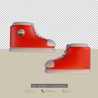 Simpatiche scarpe rosse di natale con illustrazione 3d di vista laterale del pupazzo di neve