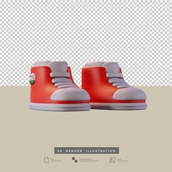 Simpatiche scarpe di natale con illustrazione 3d di pupazzo di neve