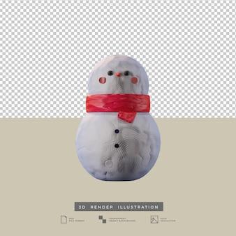 Illustrazione 3d di vista frontale di stile dell'argilla del pupazzo di neve sveglio di natale