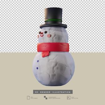 Simpatico pupazzo di neve di natale con illustrazione 3d di vista laterale di stile dell'argilla del cappello