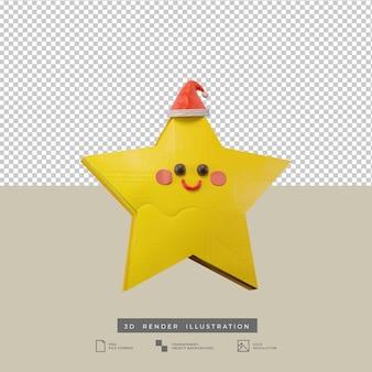 Simpatica stella di natale con illustrazione 3d in stile argilla cappello santa