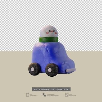 Auto blu di argilla carina con illustrazione 3d di pupazzo di neve di natale