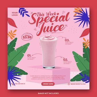 Modello di banner post instagram di media sociali di promozione del menu di bevande carino