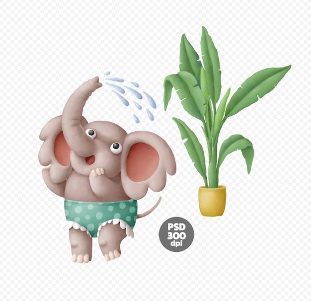 Caratteri dell'elefante sveglio disegnati a mano isolati