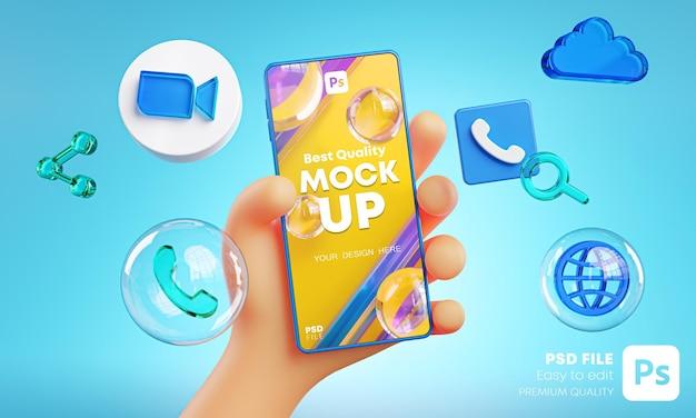 Mano sveglia che tiene le icone dello zoom del telefono intorno al mockup di rendering 3d