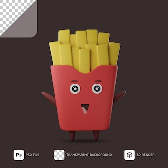 Illustrazione 3d di patatine fritte felici sveglie