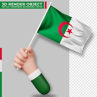 Illustrazione sveglia della bandiera dell'algeria della tenuta della mano. giorno dell'indipendenza dell'algeria bandiera del paese.