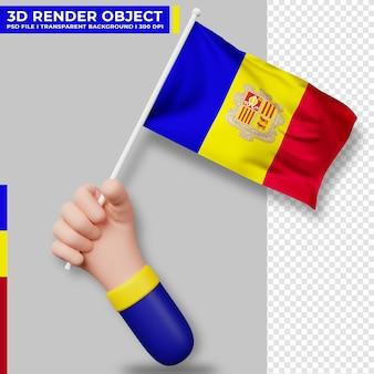 Illustrazione sveglia della bandiera dell'andorra della holding della mano. giorno dell'indipendenza di andorra. bandiera del paese.