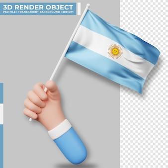 Illustrazione sveglia della bandiera dell'argentina della tenuta della mano. giorno dell'indipendenza argentina. bandiera del paese.
