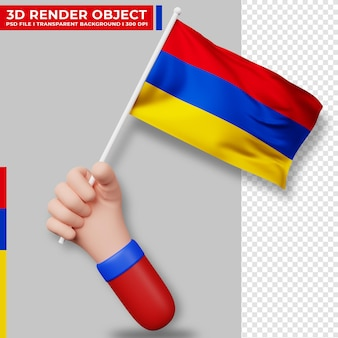 Illustrazione sveglia della bandiera dell'armenia che tiene la mano. giorno dell'indipendenza dell'armenia. bandiera del paese.