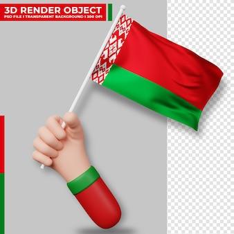 Illustrazione sveglia della bandiera della bielorussia della tenuta della mano. giorno dell'indipendenza della bielorussia. bandiera del paese.