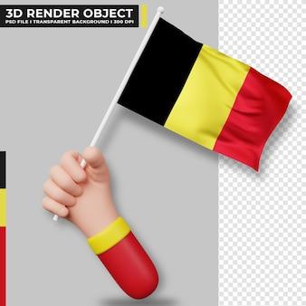 Illustrazione carina della mano che tiene la bandiera del belgio. giorno dell'indipendenza del belgio. bandiera del paese.