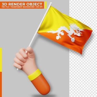 Illustrazione sveglia della bandiera del bhutan della tenuta della mano. giorno dell'indipendenza del bhutan. bandiera del paese.