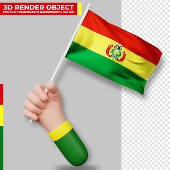 Illustrazione sveglia della bandiera della bolivia della holding della mano. giorno dell'indipendenza della bolivia. bandiera del paese.