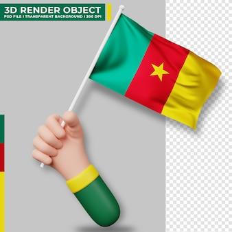 Illustrazione sveglia della bandiera del camerun della tenuta della mano. giorno dell'indipendenza del camerun. bandiera del paese.