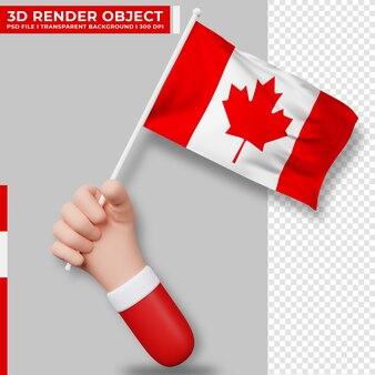 Illustrazione sveglia della bandiera del canada della tenuta della mano. giorno dell'indipendenza del canada. bandiera del paese.