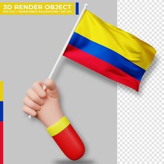 Illustrazione sveglia della bandiera della colombia della tenuta della mano. giorno dell'indipendenza della colombia. bandiera del paese.