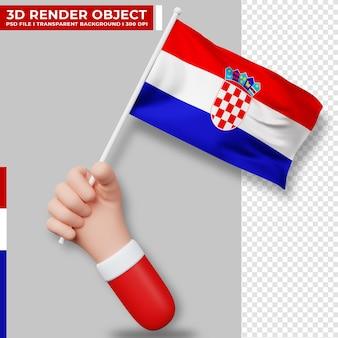 Illustrazione sveglia della bandiera della croazia della holding della mano. festa dell'indipendenza della croazia bandiera del paese.