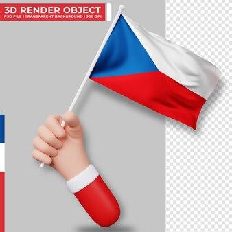 Illustrazione sveglia della bandiera della repubblica ceca della tenuta della mano. festa dell'indipendenza della repubblica ceca. bandiera del paese.