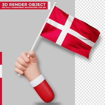 Illustrazione sveglia della bandiera della danimarca che tiene la mano. giorno dell'indipendenza della danimarca. bandiera del paese.
