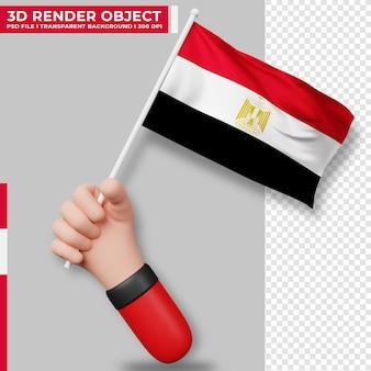 Illustrazione sveglia della bandiera dell'egitto della tenuta della mano. giorno dell'indipendenza dell'egitto. bandiera del paese.