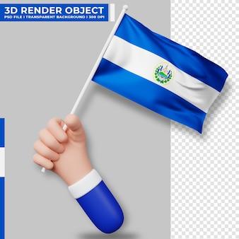 Illustrazione sveglia della mano che tiene la bandiera di el salvador. giorno dell'indipendenza di el salvador. bandiera del paese.