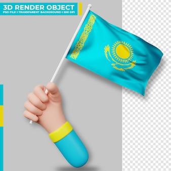 Illustrazione sveglia della bandiera del kazakistan della tenuta della mano. giorno dell'indipendenza del kazakistan. bandiera del paese.