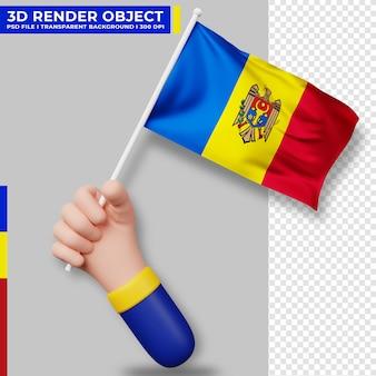 Illustrazione sveglia della bandiera della moldavia della tenuta della mano. giorno dell'indipendenza della moldavia. bandiera del paese.