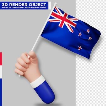Illustrazione sveglia della mano che tiene la bandiera della nuova zelanda. giorno dell'indipendenza della nuova zelanda. bandiera del paese.