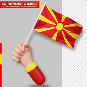 Illustrazione carina della mano che tiene la bandiera della macedonia del nord il giorno dell'indipendenza della macedonia del nord