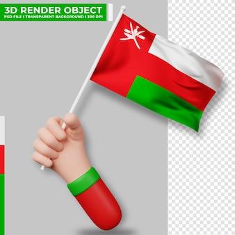 Illustrazione sveglia della bandiera dell'oman della holding della mano. giorno dell'indipendenza dell'oman. bandiera del paese.