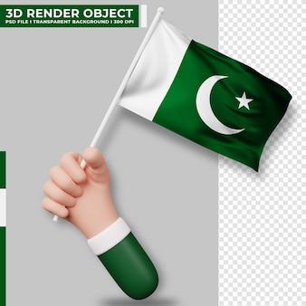 Illustrazione sveglia della bandiera del pakistan della tenuta della mano. giorno dell'indipendenza del pakistan. bandiera del paese.