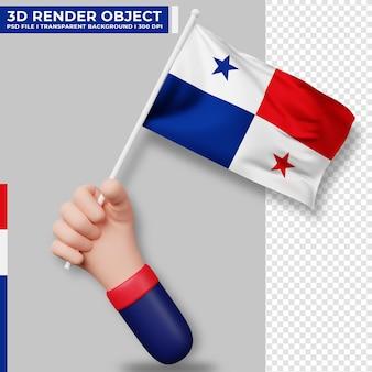 Illustrazione sveglia della bandiera di panama della tenuta della mano. giorno dell'indipendenza di panama. bandiera del paese.
