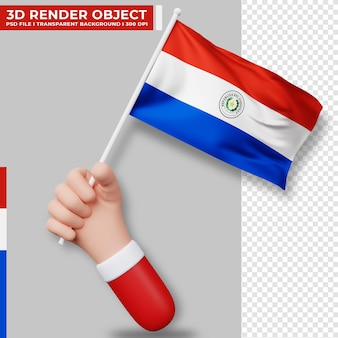 Illustrazione sveglia della bandiera del paraguay della tenuta della mano. giorno dell'indipendenza del paraguay bandiera del paese.