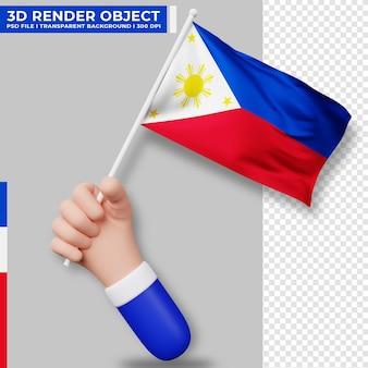 Illustrazione sveglia della bandiera delle filippine della holding della mano. giorno dell'indipendenza delle filippine. bandiera del paese.